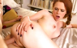 Astonishing slut Ella Hughes rubs his dick and is riding dick