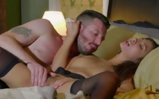 Depraved guy playing with slit of hot Gianna Dior